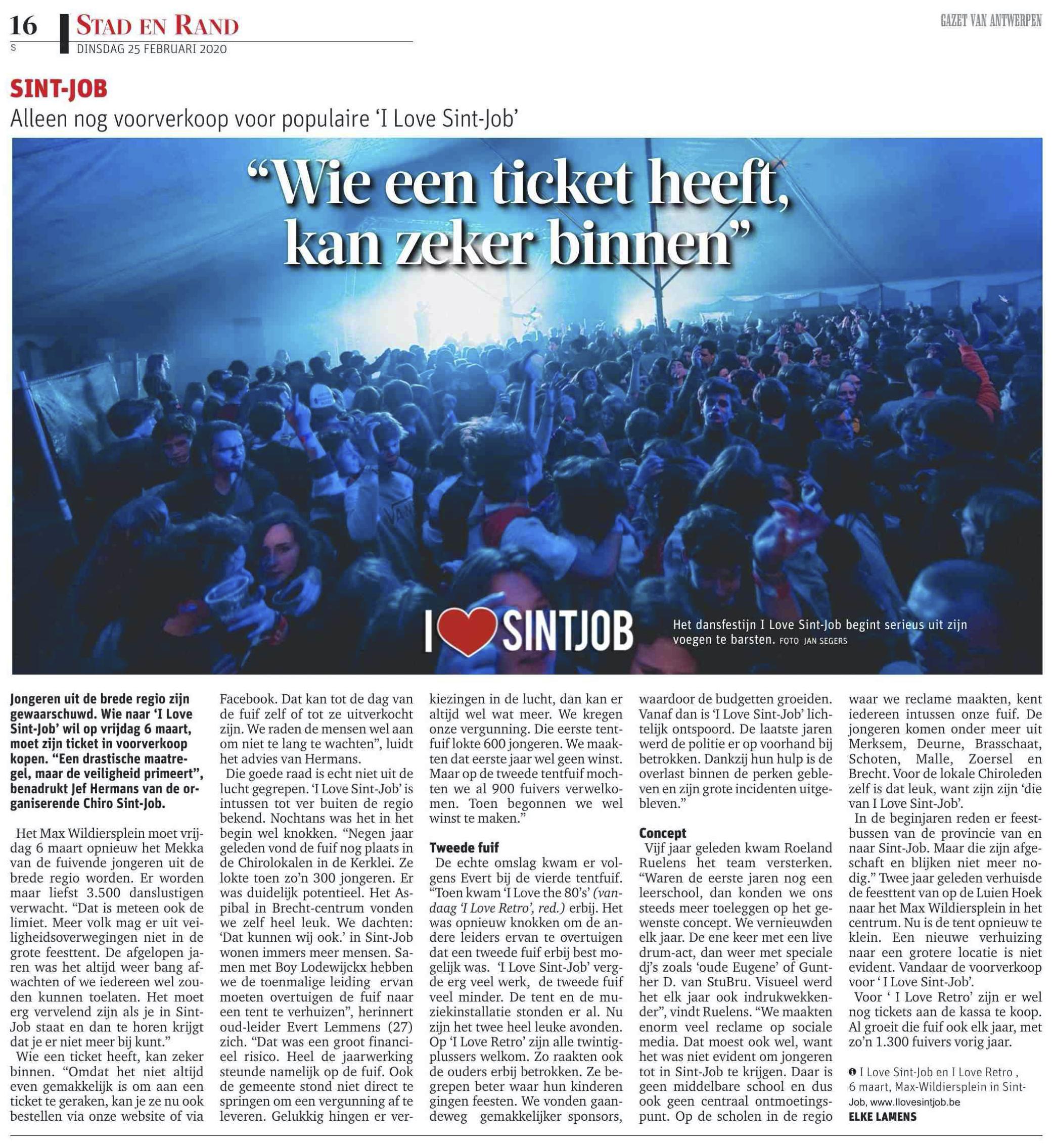 I Love Sint-Job 2020 gazet van antwerpen